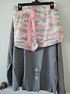 97e8930f4d2 Ladies Plus Size Joe Boxer 2 Piece Knit P J Set Gray  Pink Size 2X ...