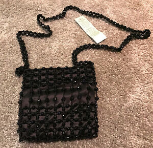 Women's Handbag Cache Tags Black W Beaded Evening New nm0wN8v