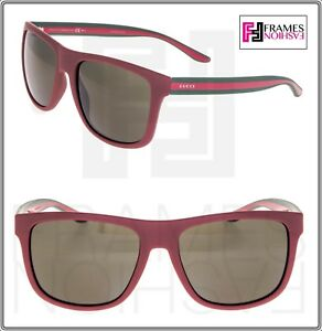 GUCCI RIBBON GG1118S Square Matte Red Green Sport Sunglasses Rubber ... ec665cf50a