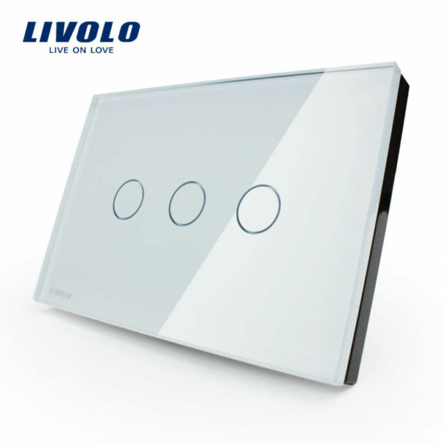 Crystal Glass Touch Panel/ Remote Control Wall Switch 3 gang (white)