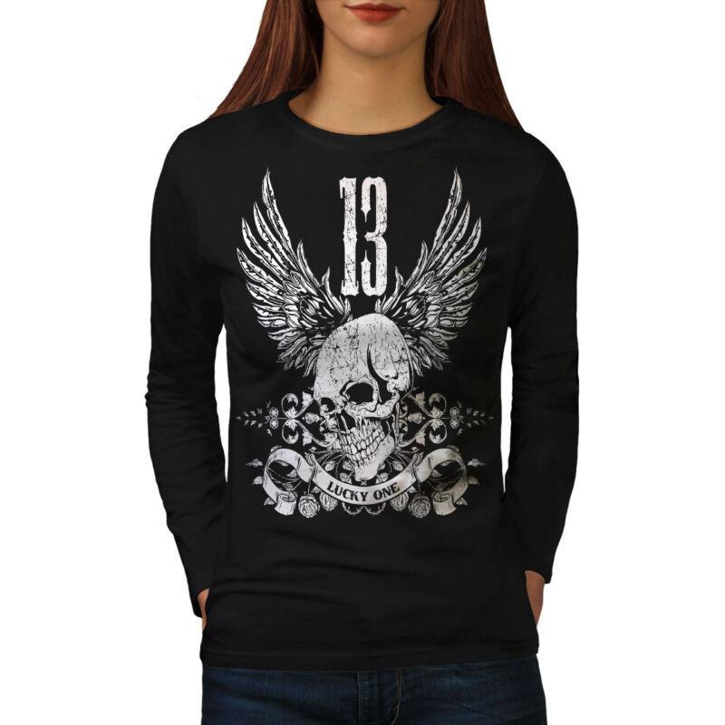 Wellcoda Mala Suerte Número 13 Para Mujer Manga Larga T-shirt, Diseño Casual Suerte