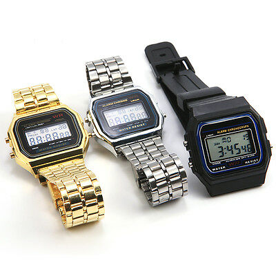 Vintage Retro Square Dial Digtial Display Wristwatch GENEVA Sports Watch Mens