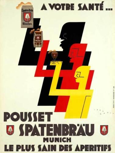 German Beer 1930 Vintage Brewery Ad Art Deco Giclee Canvas Print 20x27