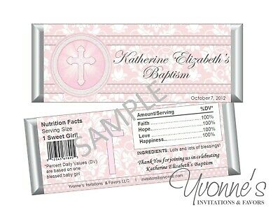 Blue Holy Cross Candy Bar Wrappers Confirmation Favors Baptism Communion