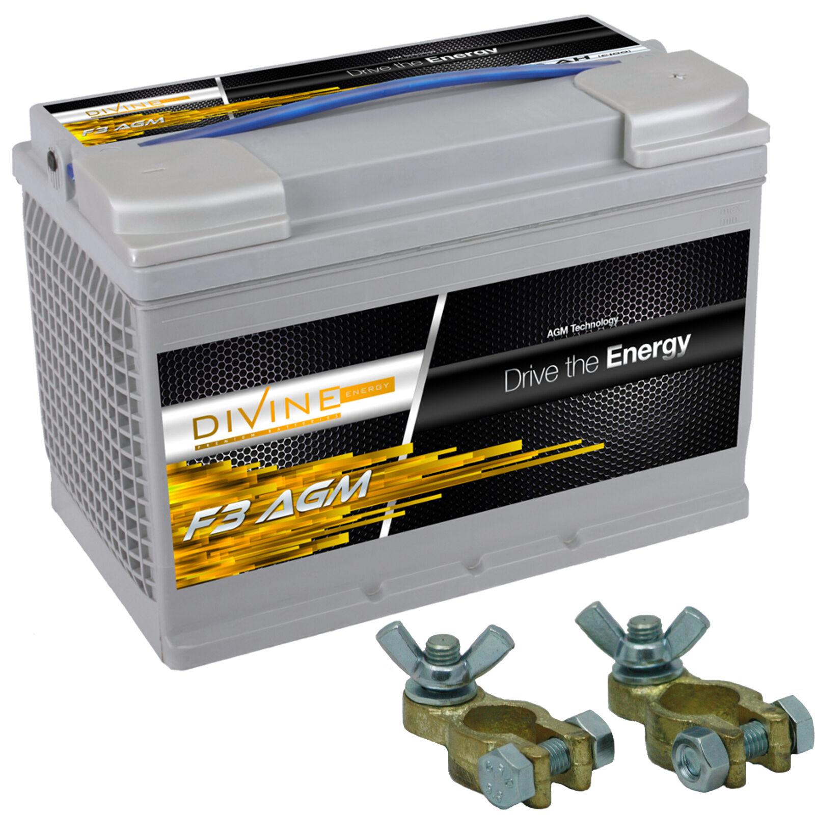 Divine F3 80Ah AGM Stiefel Antrieb Batterie mit Batterieklemmen ersetzt 75, 85ah