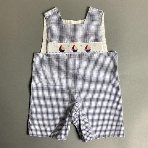 VTG Baby Boy Yellow Romper Circus Sz 3-6M Stripes Jon Jon Train