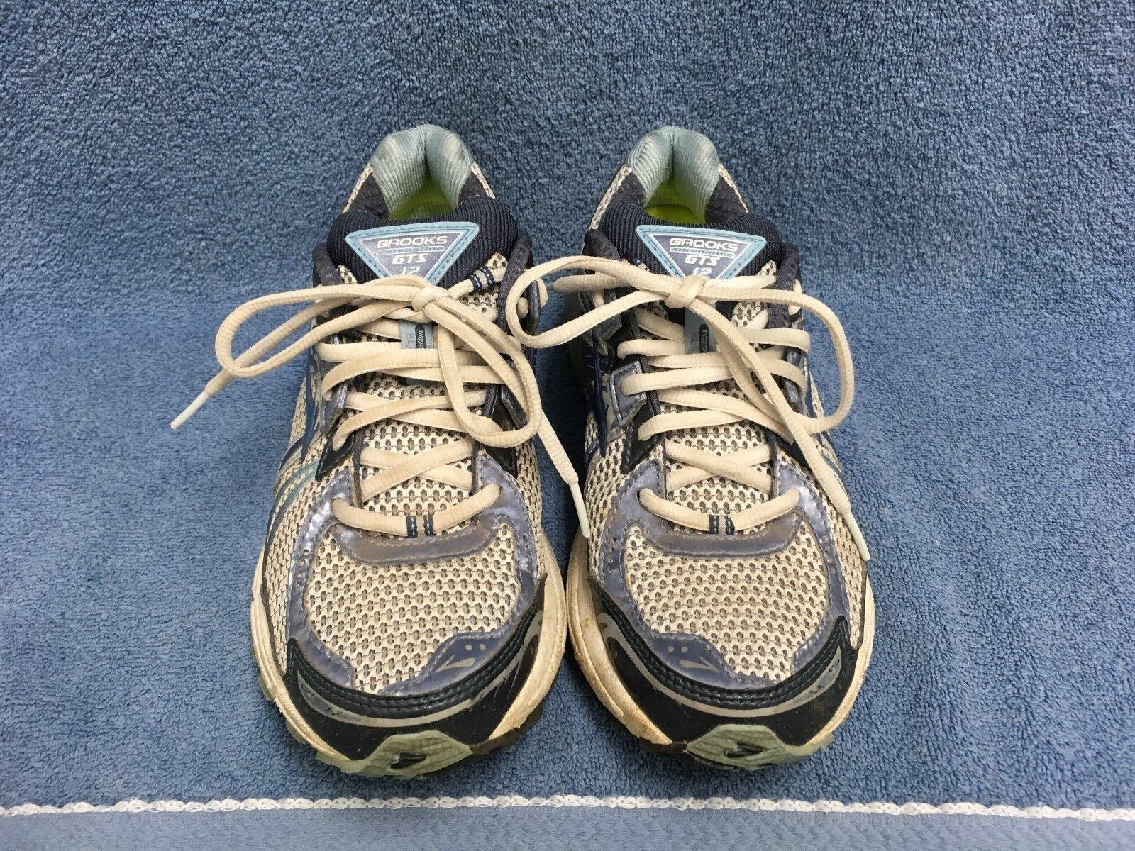 BROOKS ADRENALINE GTS 12 Womens Blue/Gray Running Shoes Size 9.5 Narrow (2A) GUC