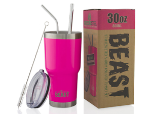 30 oz Tumbler Stainless Steel Insulated Coffee Cup with Lid, 2 Straws