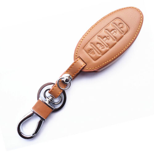 Brown 5 Buttons Genuine Leather Smart Key Chain Holder Cover For Infiniti Nissan