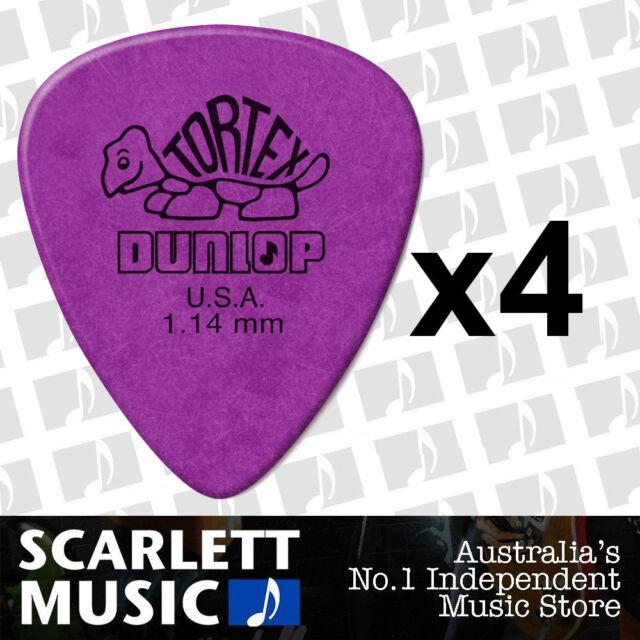 4 x Jim Dunlop Standard Tortex 1.14mm Purple Picks Plectrums 1.14 *FOUR PICKS*