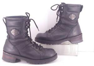 Womens lacets damesTaille 10garçons 5 cuir Davidson 8 pour Bottes à noires Harley en IDH9E2