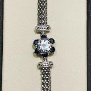 Platinum Sterling Silver Blue & White Sapphire Round Halo Mesh Tennis Bracelet