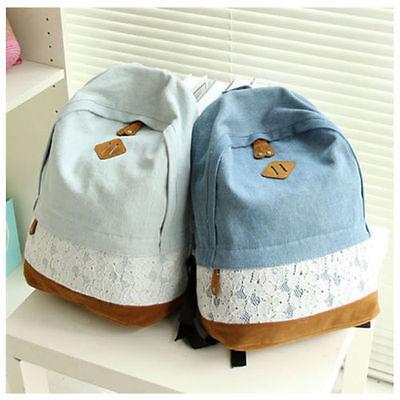 Girls Women's Denim Satchel Backpack Rucksack Shoulder School Bag Bookbags Bags