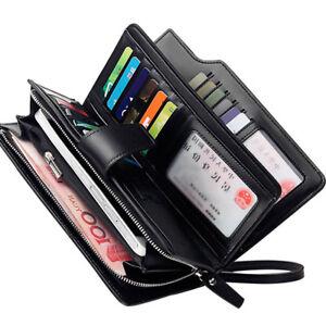 Nueva-Billetera-clutch-de-larga-para-hombre-de-cuero-soporte-tarjeta-de-identificacion-Cremallera