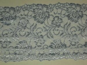 """Blue lace trimming fabric embroidered stretch material trim By the yard x 6"""""""