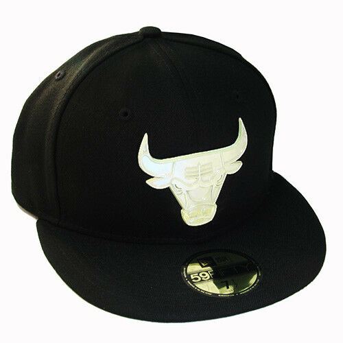 New Era NBA Chicago Bulls Black 5950 Fitted Hat Front Metal Polished Badge Cap