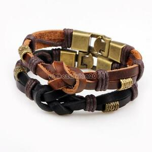 Fashion-Men-Leather-Bracelet-Antique-Bronze-Braided-Wrist-Bangle-Hand-Band-12mm