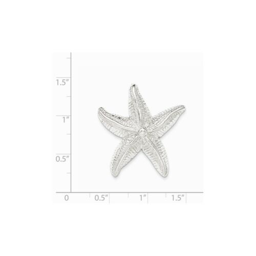 Details about  /.925 Sterling Silver Textured Star Fish Chain Slide Charm Pendant MSRP $77