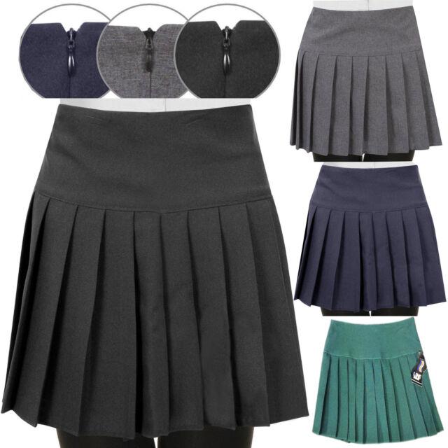 Children Girls Kids Pleated Back to School Britini Back Zip Uniform Skirts UK