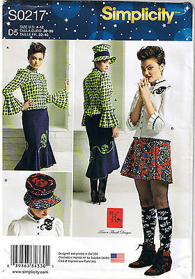 Steampunk Gothic Blouse Top Hat Mini Midi Skirt Sewing Pattern Size 4 6 8 10 12