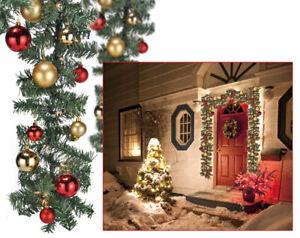 Lichterkette Tannengirlande mit 80 LED+Christbaumkugeln Adventsschmuck 500 cm