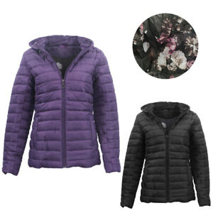 Women-039-s-Hooded-Puffer-Jacket-Quilted-Padded-Puffy-Amethyst-Coat-w-Removable-Hood