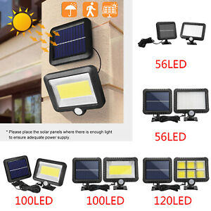 56-100-120LED-Solar-Luz-de-Pared-Impermeable-Jardin-Sensor-de-Movimiento-Lampara