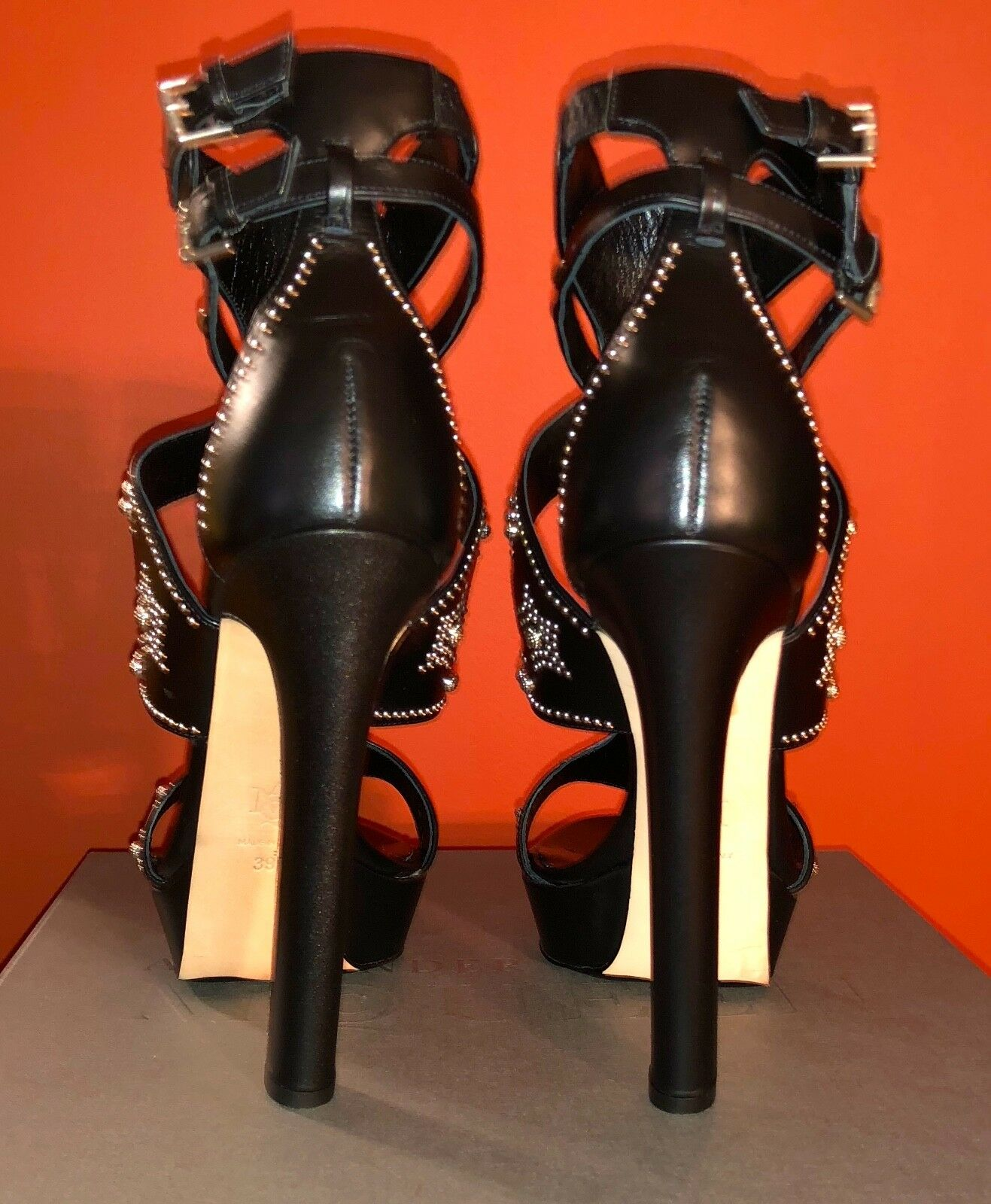 Alexander MQUEEN Black Silver Studs Platform Sandal Booties shoes 39 39 39 096153
