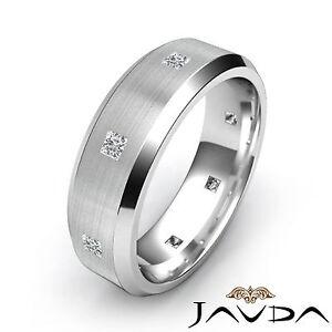 Princess Diamond Eternity Ring 18k White Gold Mens Brushed Wedding