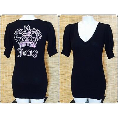 Juicy Couture Women's Small 3/4 Sleeve Black V-Neck Long Crown Tunic Shirt (A8