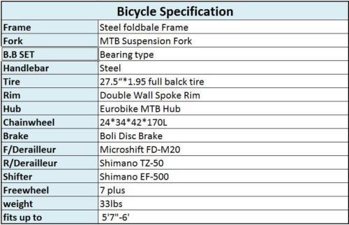 "27.5/"" Full Suspension Mountain bike Folding Bike 21 Speed Bicycle Mens MTB Disc"