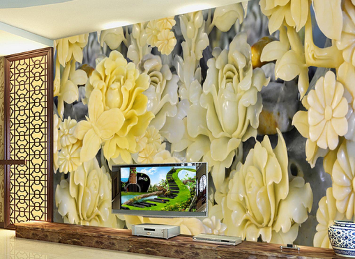 3D Jade Blaumen Muster 672 Tapete Tapeten Mauer Foto Familie Tapete Wandgemälde