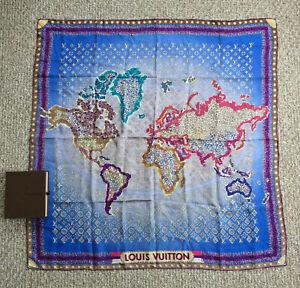 Louis Vuitton 100 Silk Monogram World Map Scarf Limited Edition Ebay