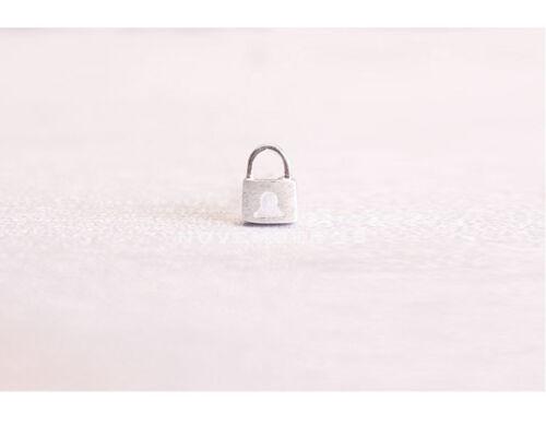 925 Sterling Silver Plated Brushed Cute Small Lock Padlock Stud Earrings Gift