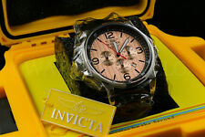 Invicta I-Force LEFTY Chrono  Rose-Tone Braided Dial S.S Leather Watch W/1 Slot