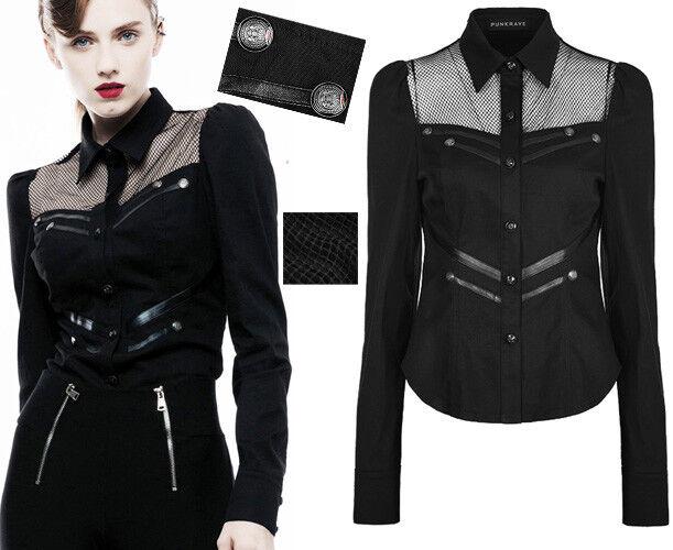 Chemise cintré gothique punk militaire bandes cuir résille boutons mode Punkrave
