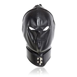Soft-PU-Leather-Full-face-gimp-bondage-hood-mask-eyes-mouth-zipper-lace-up-back