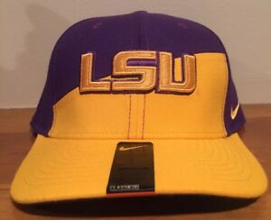 36b87157841 Image is loading LSU-Fitted-Hat-Nike-Classic99-Tigers-Verbiage-Football-