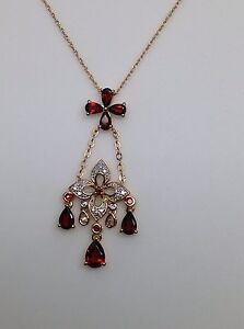 14k Garnet /& Garnet Bead Chandelier Style Dress Necklace in Yellow Gold 17 .50 ctw