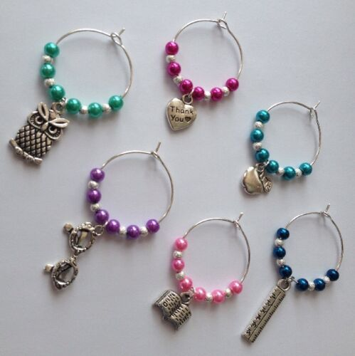 6 Teacher Wine Glass Charms Thank You Present Gift School leaving SELLING FAST!