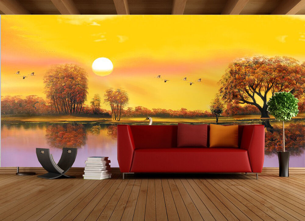 3D Fiume scenario Parete Murale Foto Carta da parati immagine sfondo muro stampa