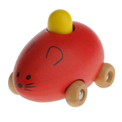 MagiDeal Niños pequeño ratón de madera de juguete de animales de coches,