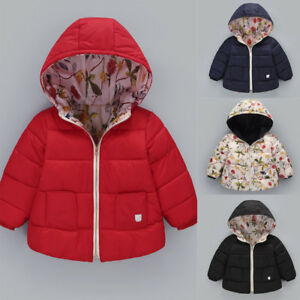 c12edd96a5cb Kids Baby Girl Boy Winter Hooded Coat Floral Jacket Thick Warm ...
