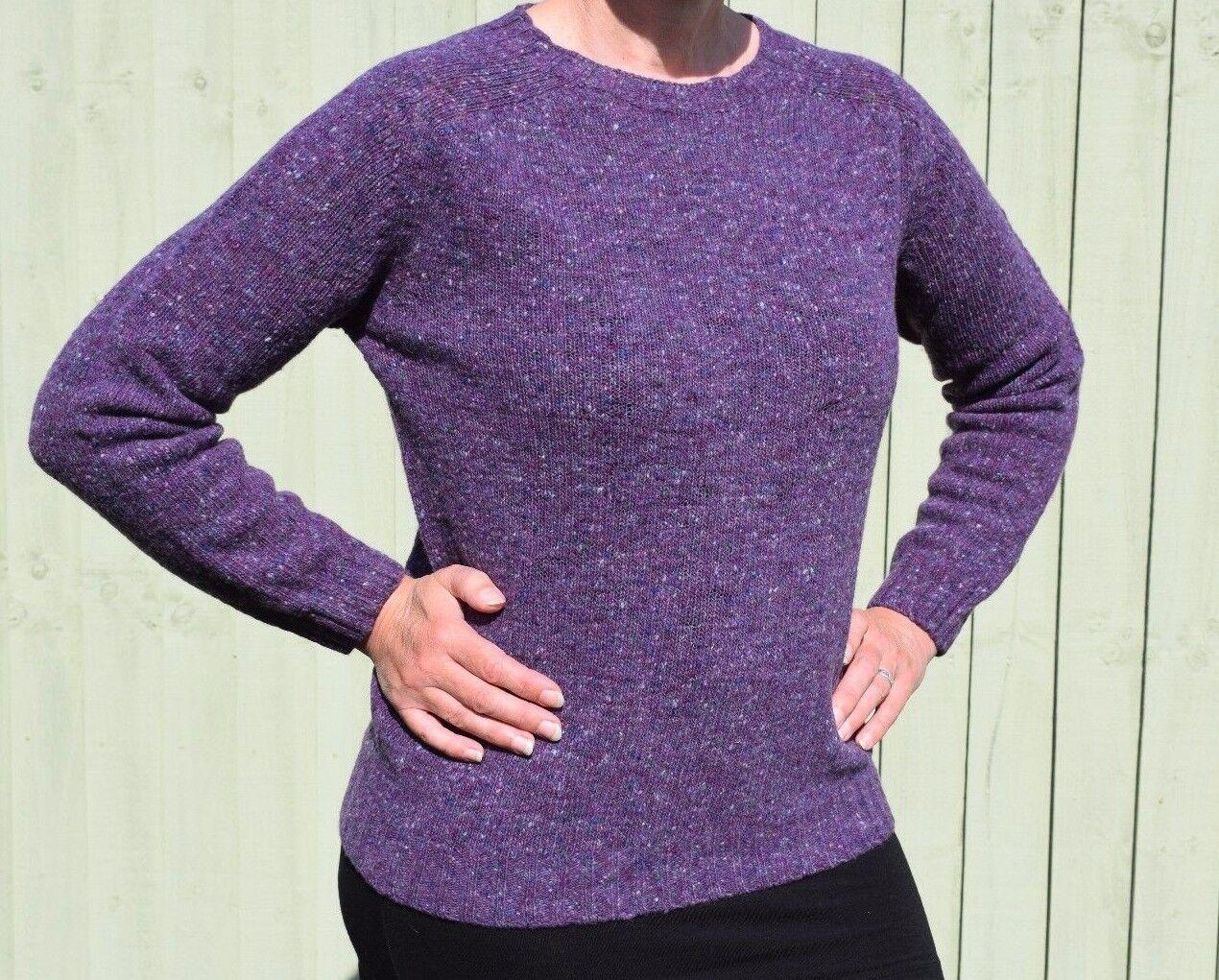 HARLEY della Scozia Fleck Viola 100% Lana Merino Maglione Pullover Pullover