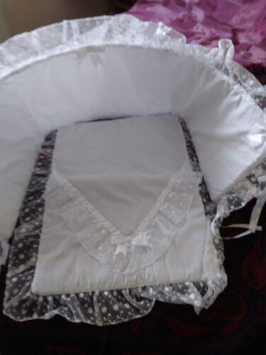 WHITE STUNNING LUXURY ROMANY LACE 2 Piece SWINGING CRIB SET WHITE