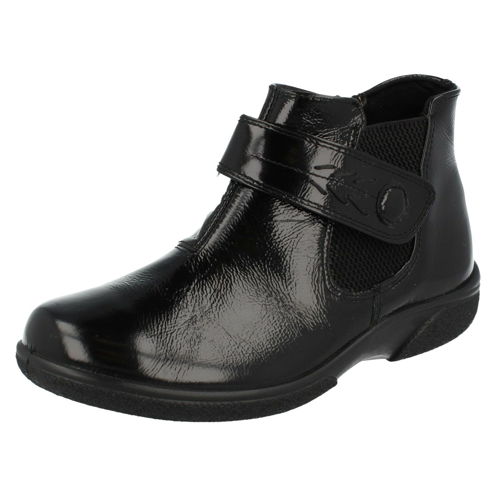 Ladies Black Crinkly Leather Riptape Easy B Ankle Boots Swindon