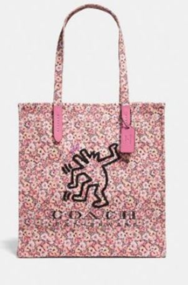 4e9c11ffd563 Coach NWT  175 Pink Keith Haring Dancing Dog Shoulder Hand Bag Tote Sequins  Snap