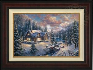 Details About Thomas Kinkade Studios High Country Christmas 18 X 27 Le G P Canvas Burl Frame