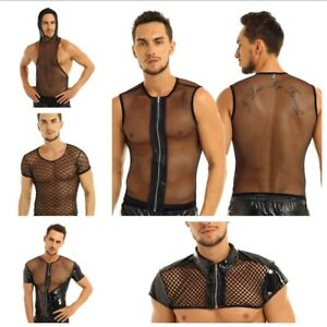 Men-Undershirt-Wetlook-T-shirt-Singlet-Vest-Fishnet-Tank-Top-Crop-Tops-Club-Wear