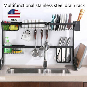 25-5-034-33-5-039-039-Space-Saver-Dish-Drainer-Rack-2Tier-Drying-Holder-Stainless-Steel-US